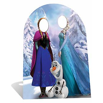 子供サイズ ディズニー冷凍アンナとオラフ段ボールの代役の切り抜きを座っているとエルザ/明かり取り