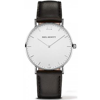 Shows Paul Hewitt PH-SA-S-SM-W-2S-steel silver case black leather strap