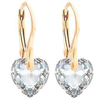 Ah! Jóias 24K ouro Vermeil sobre prata esterlina 10mm cristais de brincos coração Swarovski
