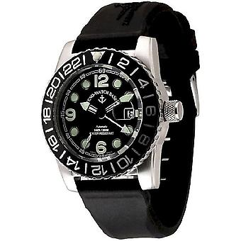 Zeno-watch mens watch Airplane diver automatic points black 6349GMT-3-a1