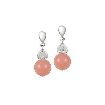 Eternal Collection Solitaire Pink Coral Pearl Silver Tone Drop Pierced Earrings