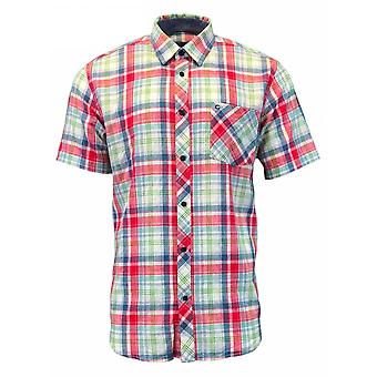 PETER GRIBBY Peter Gribby Check Cotton Linen Short Sleeve Shirt