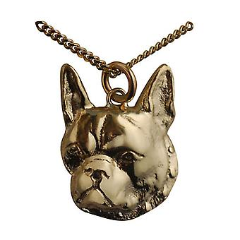 9ct Gold 25x20mm Boxer Dog Head Pendant with a curb Chain 24 inches