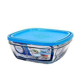 Duralex Freshbox Square Bowl with Blue Lid, 20cm