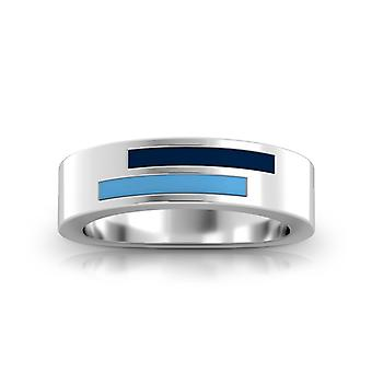 Tampa Bay Rays Sterling Silver Asymmetric Enamel Ring In Blue and Sky Blue