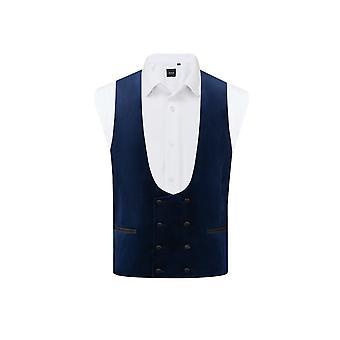 Dobell menns Navy Velvet Tuxedo vest regelmessig Fit dobbel breasted