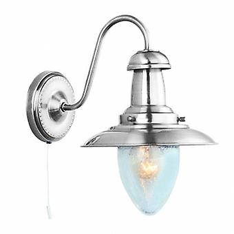 1 Light Wall Light Satin Silver With Seeded Glass Shade