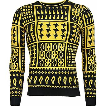 Casual Sweater - Motives Wool Sweater - Yellow
