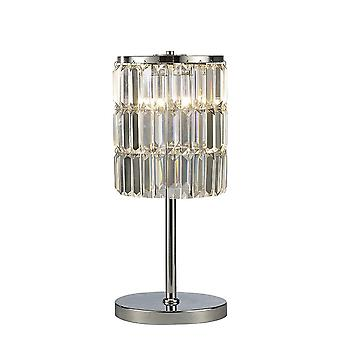 Diyas Torre Crystal Curtain Table Lamp 3 Light Polished Chrome
