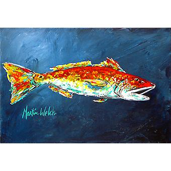Carolines Treasures  MW1093PLMT Fish - Red Fish Red for Jarett Fabric Placemat