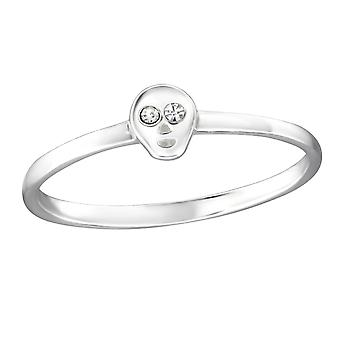 Skull - Crystal + 925 Sterling Silver Cubic Zirconia Rings - W30994X