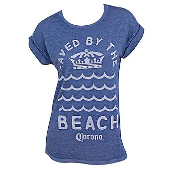 Corona Saved By The Beach Rolled Sleeves Women's Tshirt