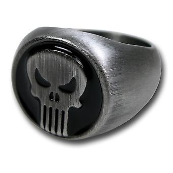 Punisher børstet nikkel ring