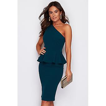 One Shoulder Peplum Waist Dress