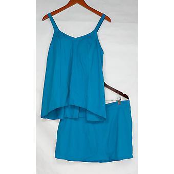 Denim & Co. badpak strand Hi-lage Tankini Tankini rok Teal blauw A303155