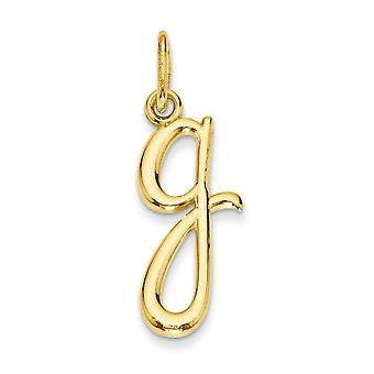 14k Yellow Gold Polished Textured back Letter Name Personalized Monogram Initial Charm Pendant Necklace Jewelry Gifts fo