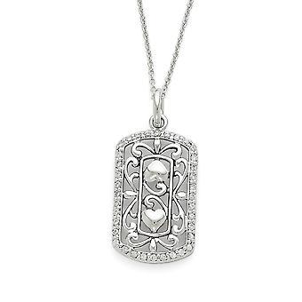 925 Sterling Silver polerad spring ring rodium pläterad CZ Cubic Zirconia Simulerad Diamond tacksam för dig 18inch Neck