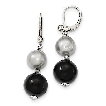 925 Sterling Silver Leverback 12mm Black Agate/10mm Freshwater Cultured Silver Pearl Earrings