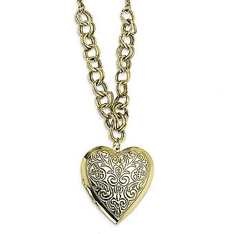 Fancy Lobster Closure Brass tone Love Heart Locket 28 Inch Colar Joias Presentes para Mulheres