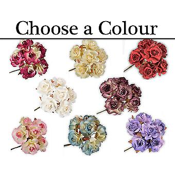 36 Large 35mm Paper Open Rose Flowers for Floristry Crafts