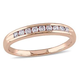 Diamond Anniversary Wedding Band 1/4 Carat (ctw G-H-I, I2-I3) in 10k Rose Pink Gold