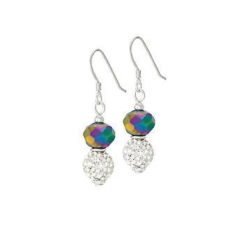 Eternal Collection Majestic Rainbow Crystal Drop Pierced Earrings