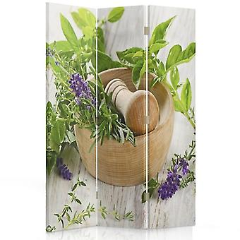 Room Divider, 3 Panels, Double-Sided, 360 ° Rotatable, Canvas, Wooden Mortar Herb