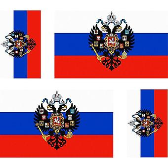 4 X Sticker Sticker Sticker Motorcycle Car Valise Portable Flag Russia Russian Eagle