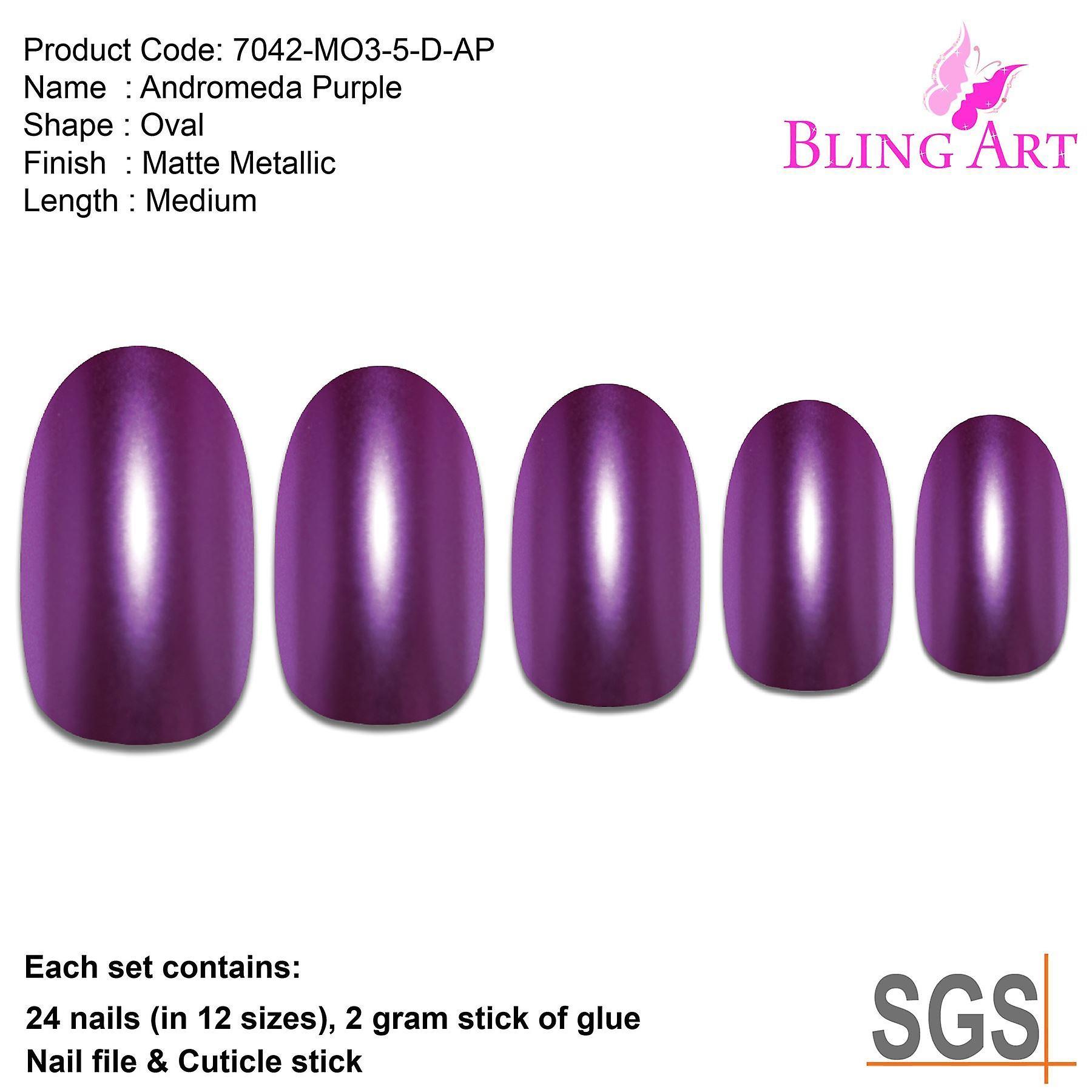 False nails by bling art purple matte metallic oval medium fake acrylic 24 tips