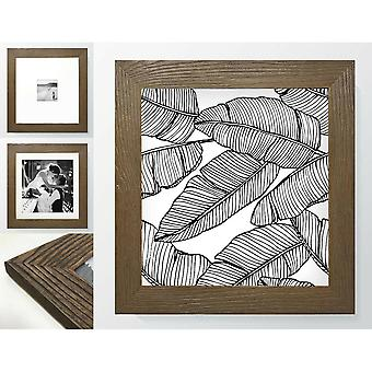 Walnut Brown Wood Effect Square Photo Frame Picture Farmhouse Style Wall Mounted