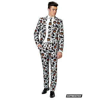 Pompoen Halloween kostuum grijs pak Suitmeister slimline economie 3-delige set
