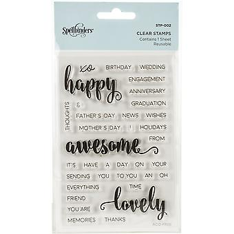 Spellbinders Happy Sentiments Clear Stamps