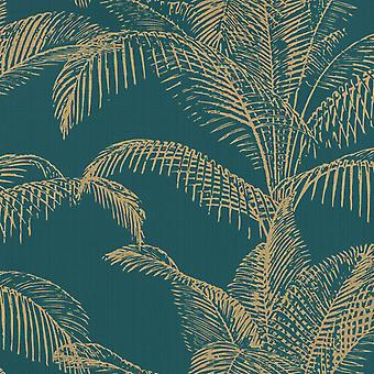 Pandore Palm Leaves Wallpaper Teal / Gold Rasch 406825