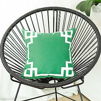 Grass Green and White Geometric Decorative Throw Pillow Cover