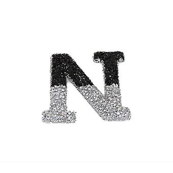 Black and Silver Double Glitter Alphabet Sticker - N