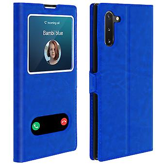 Double window flip standing case for Samsung Galaxy Note 10, TPU shell - Blue