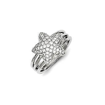925 Plata de Ley y Zirconia CZ Cubic Zirconia Simulado Diamante Estrella Anillo Joyería Regalos para Mujer - Tamaño del Anillo: 6 a 8