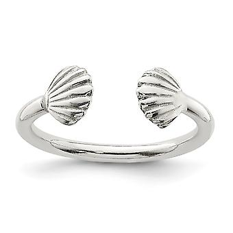 925 Sterling Silver Shell Ring Jewelry Gifts for Women - Ring Size: 6 to 8