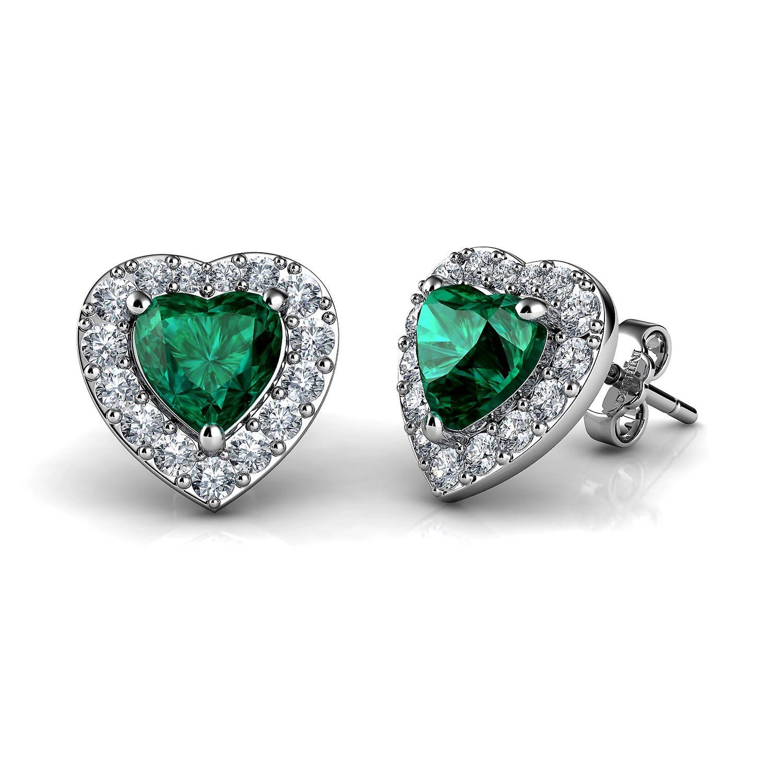 Dephini green heart earrings  925 sterling silver stud earrings cz