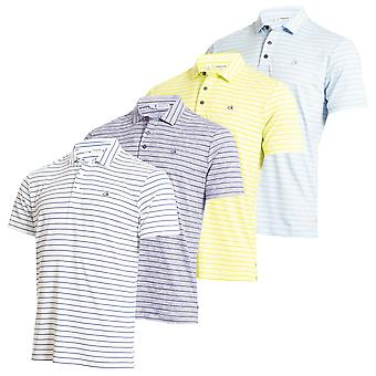 Calvin Klein Herren 2020 Splice Stripe Wicking Kurzarm Golf Polo Shirt