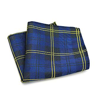 Navy blue & bright yellow tartan stripe pocket square