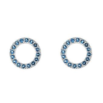Dew Sterling Silver Open Circle Blue Cubic Zirconia Stud Earrings 3882BLZ