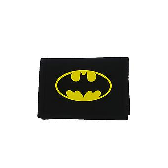 DC Comics Classic Batman Bat Signal Badge Tri-fold Wallet Black and Yellow