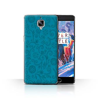 STUFF4 Case/Cover for OnePlus 3/3T/Blue Flower/Floral Swirl Pattern