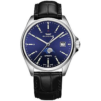 Combat classic moonphase Automatic Analog Men's Watch with Cowskin Bracelet GL0113
