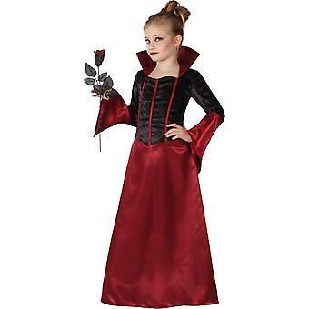 Rode vampier vermomming en zwarte Halloween meisje