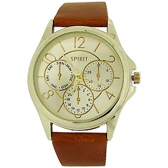 Spirit Ladies Analogue Goldtone Dial Chrono Effect Tan PU Casual Strap Watch ASPL61