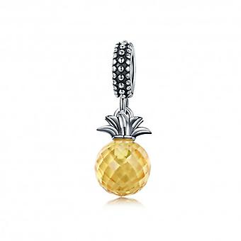 Sterling Silver Pendant Charm Yellow Pineapple - 5433