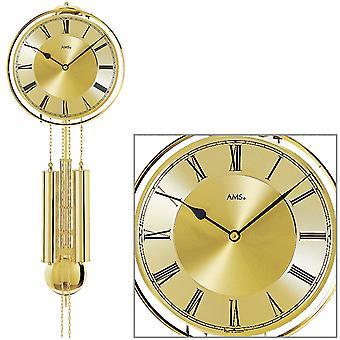 AMS 356 wall clock with pendulum mechanical golden front tire made of brass pendulum clock