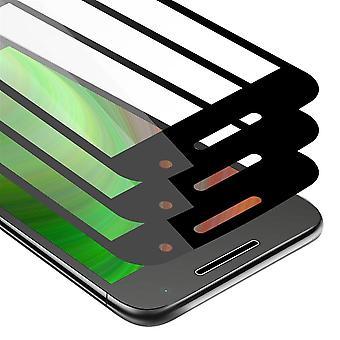 Cadorabo 3x كامل الشاشة خزان احباط ل موتورولا موتو G4 PLAY - فيلم واقية في شفاف مع أسود - 3 حزمة خفف زجاج واقية في 9H صلابة مع 3D اللمس